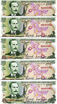 LOT Costa Rica, 5 x 5 Colones, 1990, P-236e, UNC