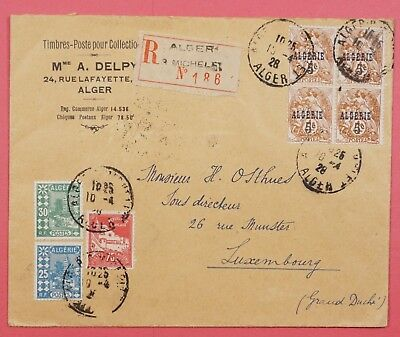 1928 Algeria Registered Multi Franked Cover To Luxembourg
