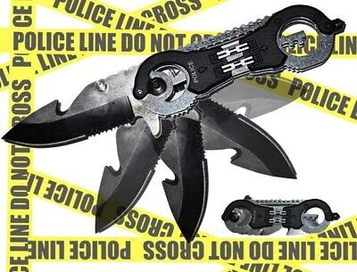 Black Police Handcuffs Pocket Knife Spring Assisted Opening