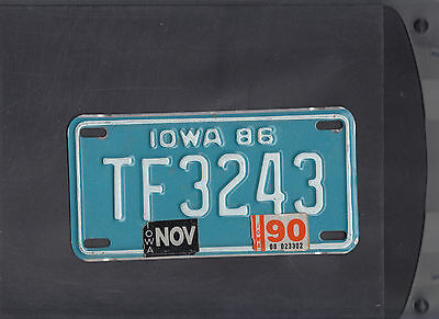 """IOWA 1990 license plate """"TF 3243"""" ***MOTORCYCLE***"""