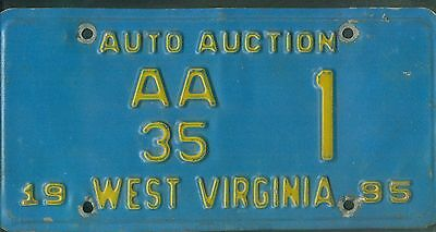"""WEST VIRGINIA 1995 license plate """"AA35"""" ***AUTO AUCTION #1***"""