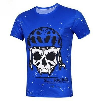 Skull Cycling Jerseys Round Top Racing T-Shirt Blue Quick Drying Size S-3XL