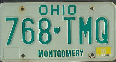 "OHIO passenger 1989 license plate ""768 TMQ"" ***NATURAL***MONTGOMERY***"