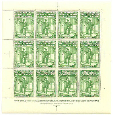 20Th Philatelic Congress Of Great Britain Green Sheet Of 12 1933 Unmounted Mint