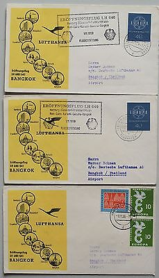 GERMYANY 1959 Stage Flights to BANGKOK Thailand x3, Lufthansa First Flight Cover