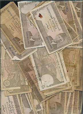 Pakistan Lot Of Low Grade Notes -5 Rupees Lot Of 85+ Brown Notes