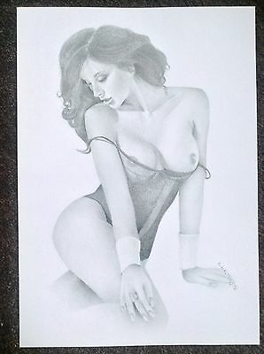 Original Art Nude Woman Sexy Female Erotic Pinup Lingerie Topless Signed Sensual