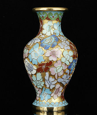 Collectible Old Handwork Carving Painting Copper Cloisonne Noble Vase Decoration