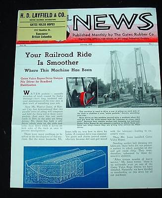 Antique 1939 INDUSTRIAL NEWS by The Gates Rubber Co Vulco Ropes Foundry Railroad