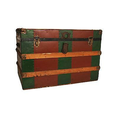 Vintage STEAMER TRUNK box wood chest coffee table base antique loft storage RED