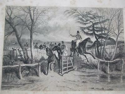 1841 ENGRAVING TOPPING THE TIMBER FULL SWING HUNTING Engraved by Scott