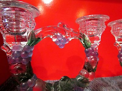 Vintage Colorful Glass Grapes & Cherries Decorative Double Candlestick Holders!