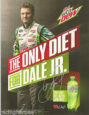(2) Dale Earnhardt Jr DIET MTN DEW NATL GUARD CHEVY SS signed 9x11 HERO PHOTOS