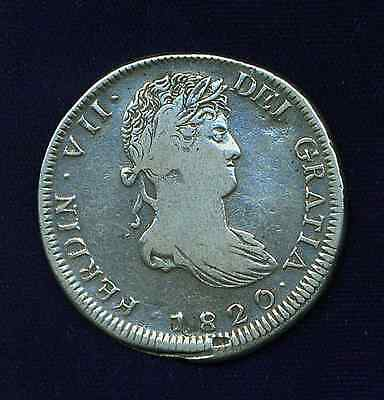MEXICO WAR OF INDEPENDENCE ZACATECAS 1820-Zs  8 REALES SILVER COIN