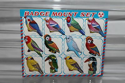 Vintage Lot of 12 Tin Badges Birds Pin, Broche, made in Japan NOS