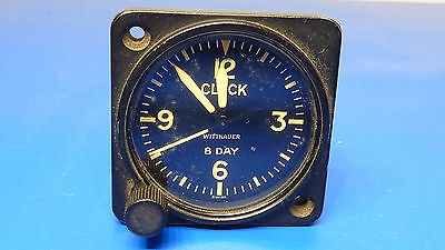 Vintage Wittnauer Aircraft 8 Day Clock,Tested to Work, Holds Time,USED