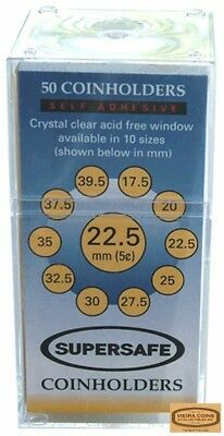 50 Supersafe SELF-SEAL  2x2 Cent/Dime Coin Holders, 20mm Retail Box - #397