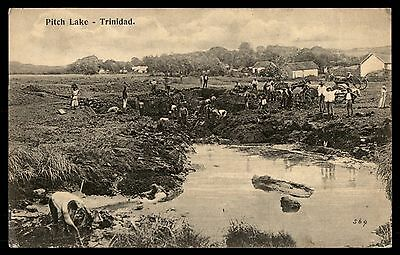 Pitch Lake Trinidad old 1900s town farm agriculture postcard antique