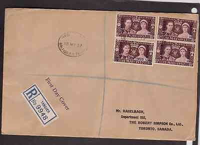 Great Britain Agencies Morocco Tangier 1937 registered FDC 1st day cover block
