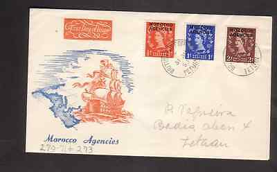 Great Britain Agencies Morocco 1953 FDC 1st day cover Tetuan cancel Definitives