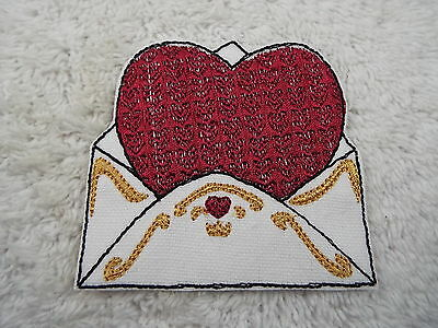 """Valentine Heart Envelope 3-3/8"""" Embroidery Iron-on Custom Patch (E4)"""