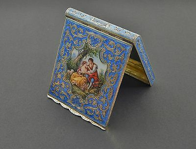 Fine Antique Austrian 935 Sterling Silver Blue Enamel Guilloche Porcelain Case