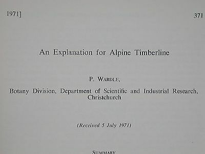 New Zealand Journal Botany Alpine Timberline Peter Wardle Christchurch 1971 Book