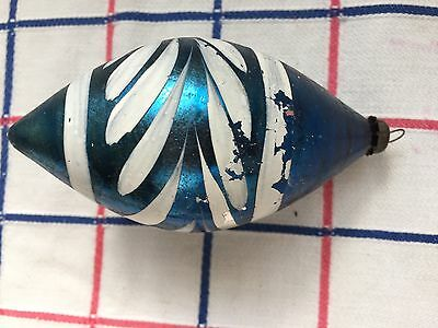Vintage Christmas Ornament; Nice Blue W/ White Decor; Pointed Bottom; 4.25 In