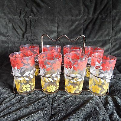 Vintage Postcard Set Of 8 Tumblers Red / White Flowers With Metal Rack