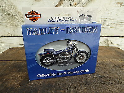 2001 HARLEY DAVIDSON Softail 2 Decks of Playing Cards + Collectible TIN New