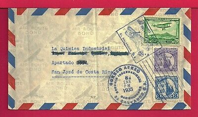 1935 El Salvador Tri Franked Airmail Cover To Costa Rica