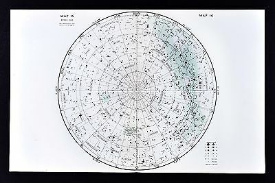 1950 Norton Star Map South Sky Chart Hemisphere Southern Cross Centaurus Hydrus
