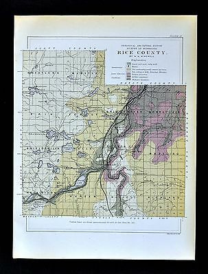 1901 Minnesota Geological Map - Rice County  Geology Morristown Warsaw Dundas MN