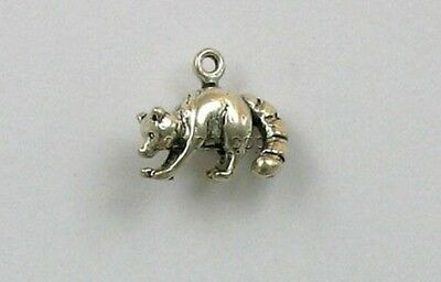 925 Sterling Silver 3D Raccoon Charm, Wildlife & Nature Theme