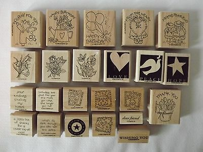 Lot Of 23 Individual  Stampin' Up Rubber Stamps Flowers Birthday Holiday & More