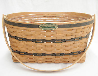 Longaberger Traditions Family Basket 1995 Edition Blue Weaving Protector Handle