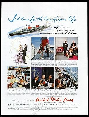 1956 Tennessee Williams George S Kaufman photo SS United States ship Lines ad