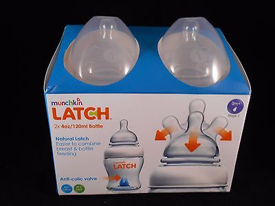 Munchkin Latch 2 X 4Oz /120Ml 0M+ Baby Feeding Bottles Twin 2 Pack Bnib