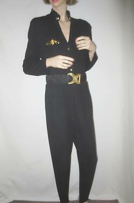 80s Vtg Cache Black Cat Suit Stirrup Jumpsuit Gold Stud Cut Out Back Stretch S/M