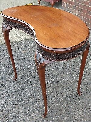 Victorian antique solid carved mahogany kidney shape library table writing desk
