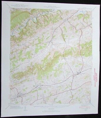 Glade Springs Virginia Emory and Henry College vintage 1938 old USGS Topo chart