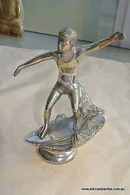 "used small silver SURFER statue real Brass old vintage TROPHY 6"" SURF surfing"