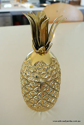 "small PINEAPPLE vase & lid sculpture decoration SOLID BRASS heavy 8"" hand made"