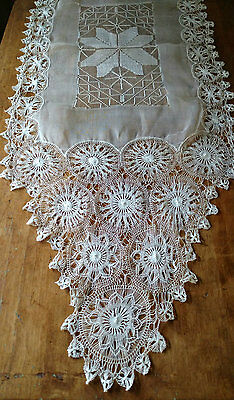 Tenerife Needle Lace Runner Voile Organdy Fabric Victorian Table Dresser Linen