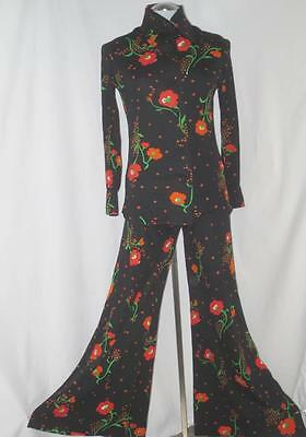 70's Vtg Deco 3pc Palazzo Outfit Jacket Top Pants Poppy Flower Theme Size 9/10