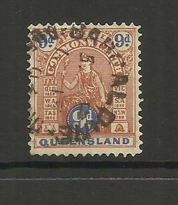 QUEENSLAND AUSTRALIA ~ 1903-1912 COMMONWEALTH ISSUE 9d (USED)