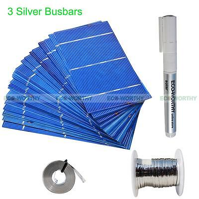 ECO 2x6 3x6 6x6 PV Solar Cell Cells W/ 3 Silver Bus Bar for DIY 100W 1KW Panel