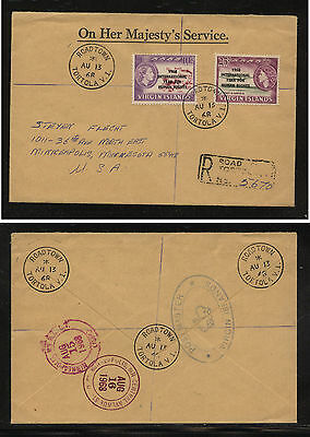 British Virgin Islands  registered cover to US nice cancels 1968       AT0623