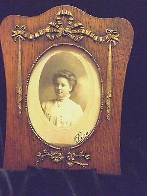 Antique Edwardian  Wooden Photograph Frame Carved Wooden Detail Swags Ribbons
