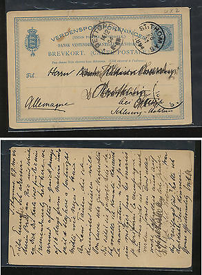 Danish  West  Indies  postal card to Germany  1894       AT0524